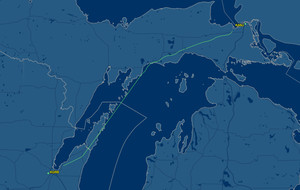 Route from Sault Ste Marie, MI to Green Bay, WI