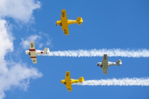 T-6 Texans in tight formation