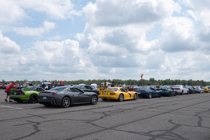 Cars waiting for their turn on the runway