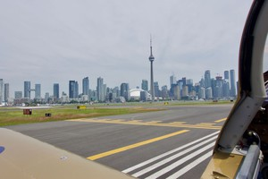 Downtown Toronto, seen after landing while waiting to cross runway 26
