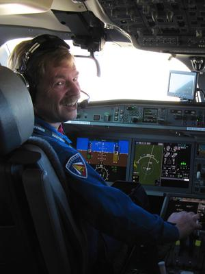 Kevin all smiles after his first flight in the CSeries